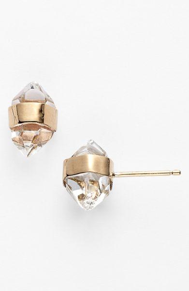 Melissa Joy Manning Stone Stud Earrings In Gold Herkimer
