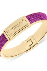 Michael Kors Goldtone Plaque and Purple Crystal Cuff Bracelet - Lyst