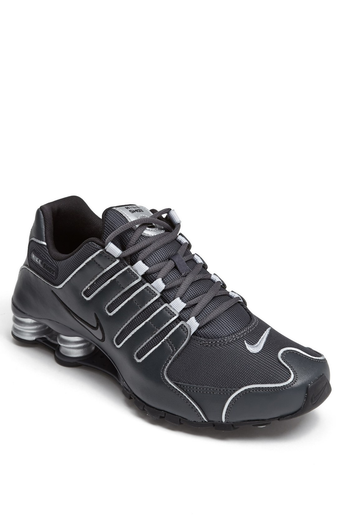 nike shox nz running shoe in silver for anthracite