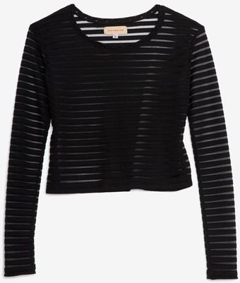Otis & Maclain Sheer Stripe Crop Tee Black - Lyst