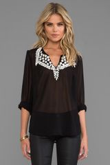 Plenty By Tracy Reese Embroidered Kurta Blouse in Black - Lyst