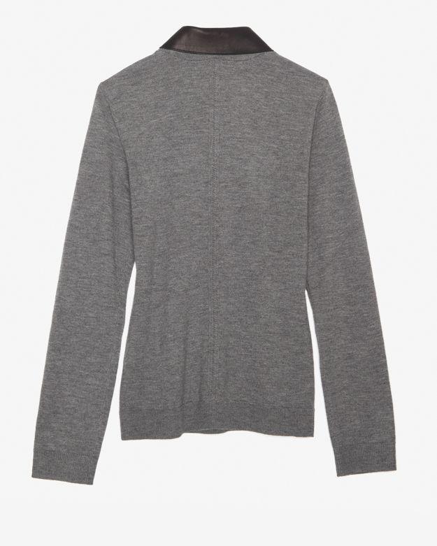 8f7590fbb909 Lyst - Rag   Bone Leather Collar Sweater in Gray