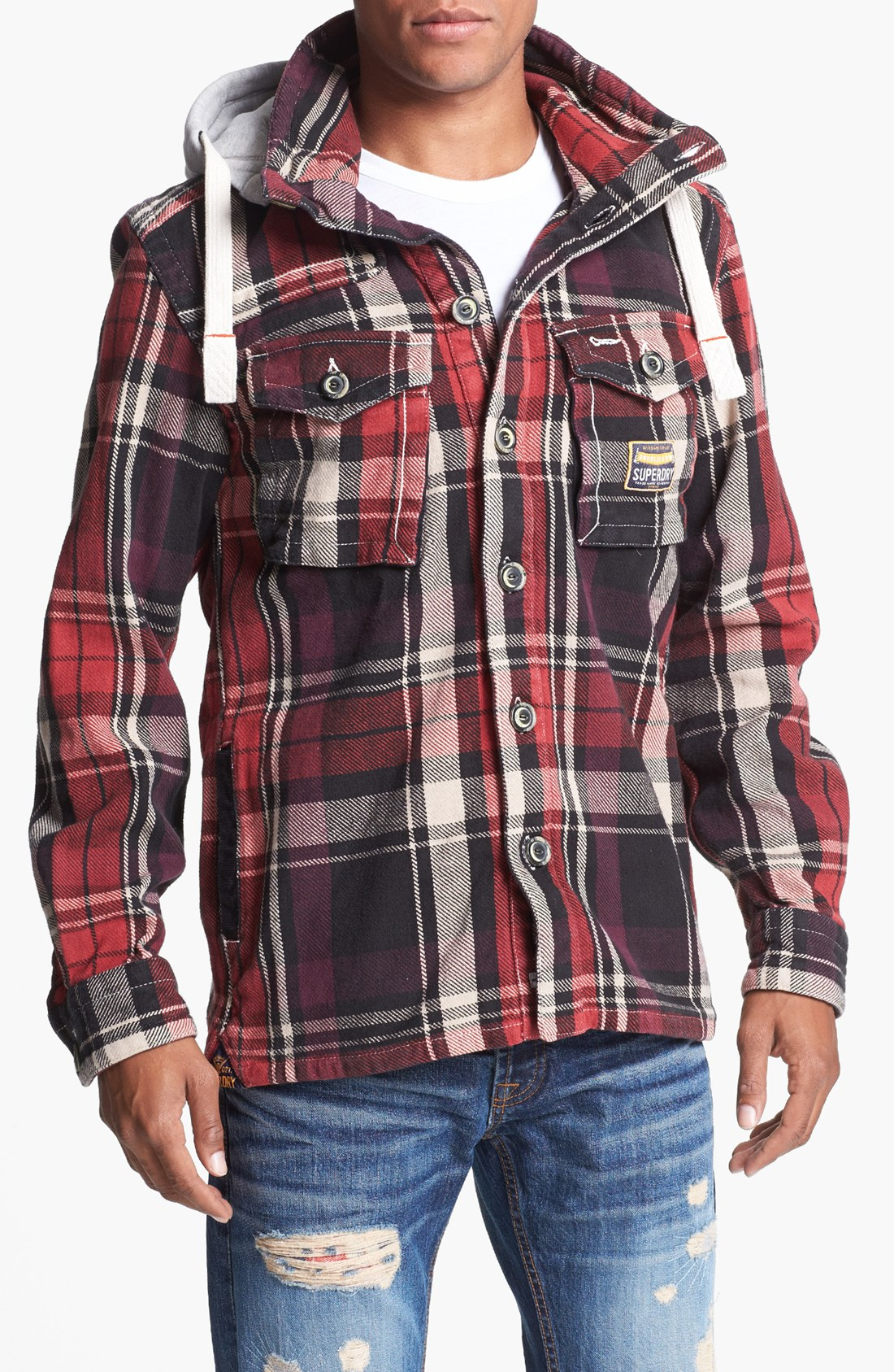 Superdry Huntsman Plaid Jacket With Removable Hood In