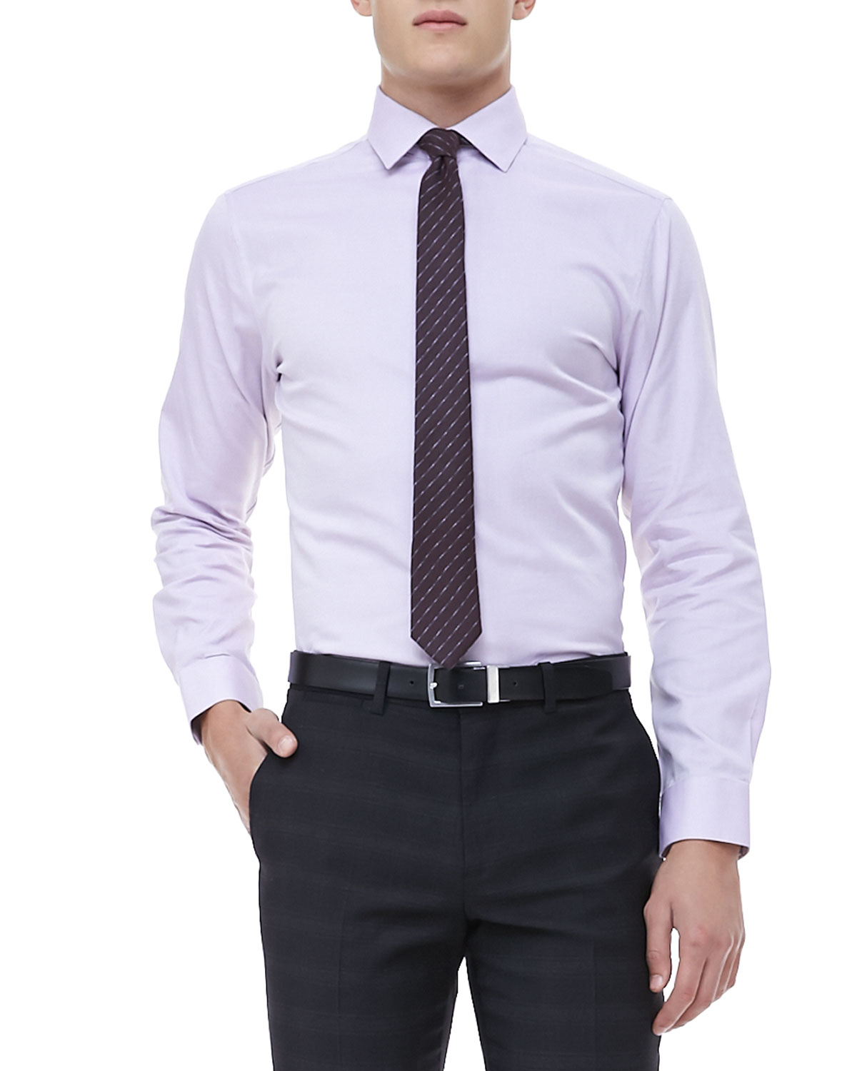 theory longsleeve dress shirt lavender in purple for men