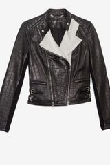 Yigal Azrouel Two Tone Croc Embossed Leather Jacket - Lyst