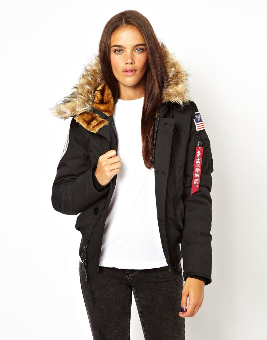 lyst asos alpha industries polar bomber jacket in black. Black Bedroom Furniture Sets. Home Design Ideas