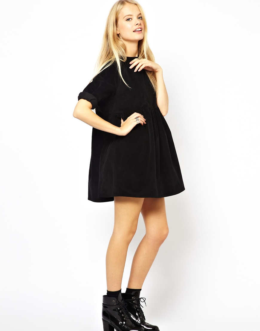 Lyst Asos Cord Smock Dress In Black In Black