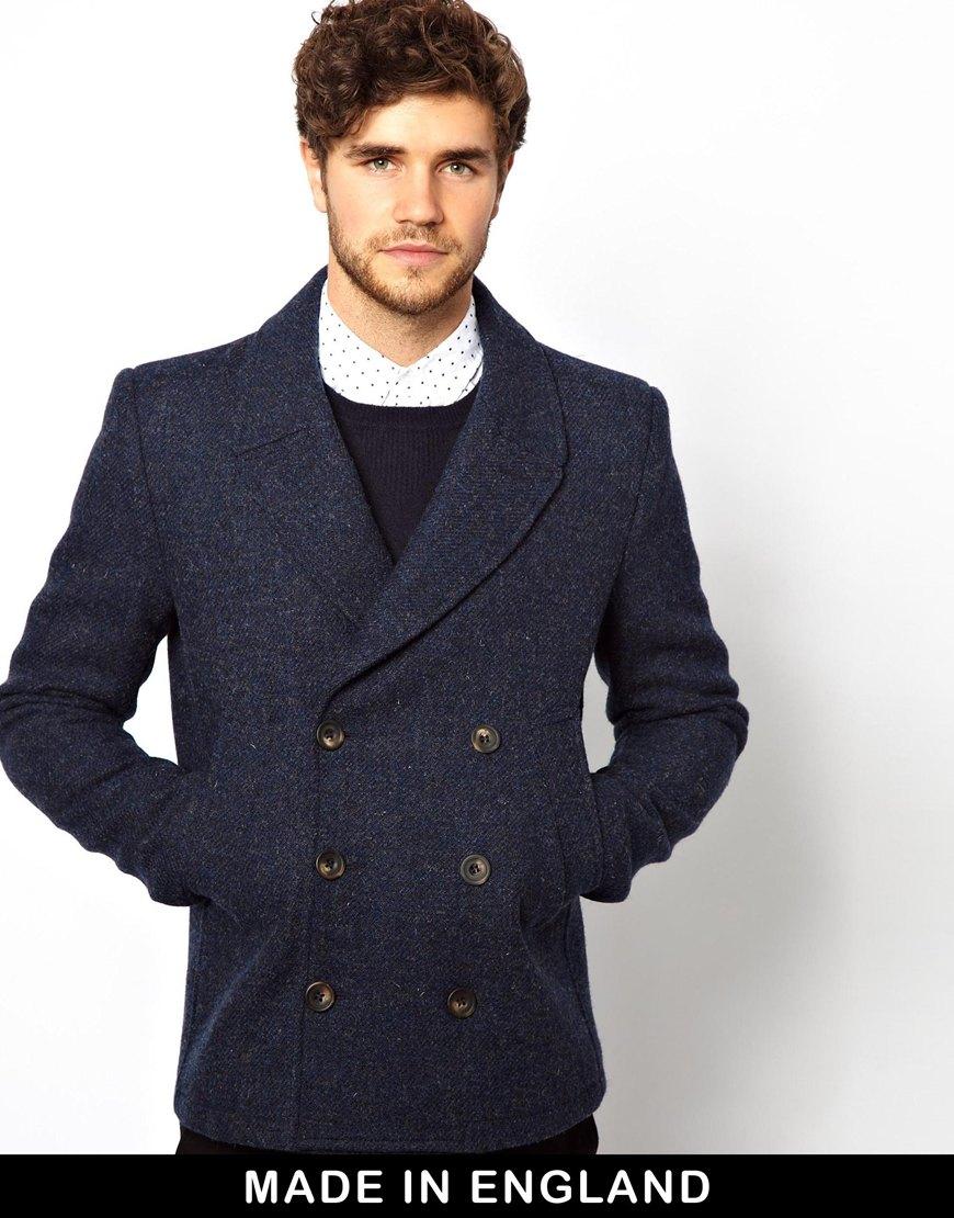 Asos Harris Tweed Peacoat in Blue for Men