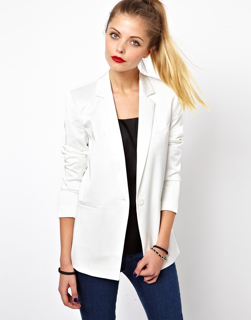 asos tux blazer in longline in white lyst. Black Bedroom Furniture Sets. Home Design Ideas