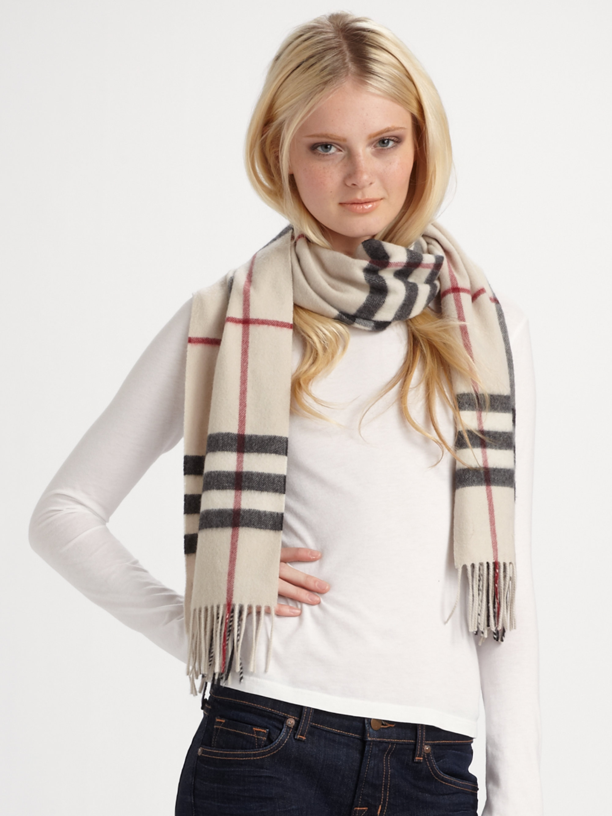 Lyst Burberry Giant Check Cashmere Scarf In Natural
