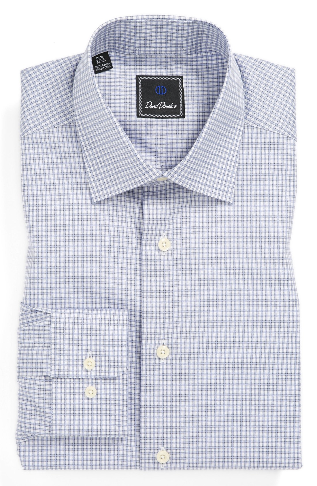 Lyst David Donahue Trim Fit Check Dress Shirt In Blue