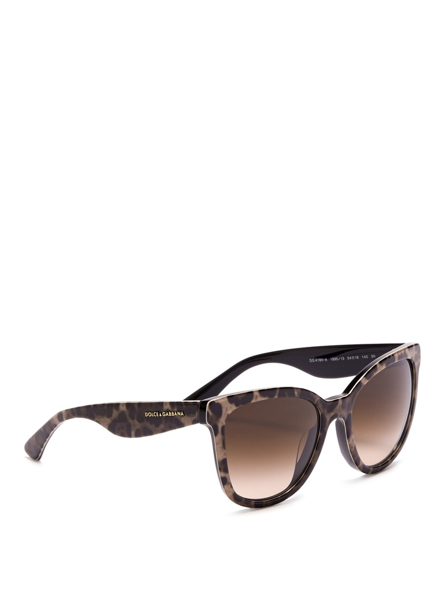 4693ca2857 Dolce   Gabbana Leopard Print Cat-eye Sunglasses in Brown - Lyst