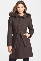 Ellen Tracy Genuine Coyote Fur Trim Hooded Coat - Lyst