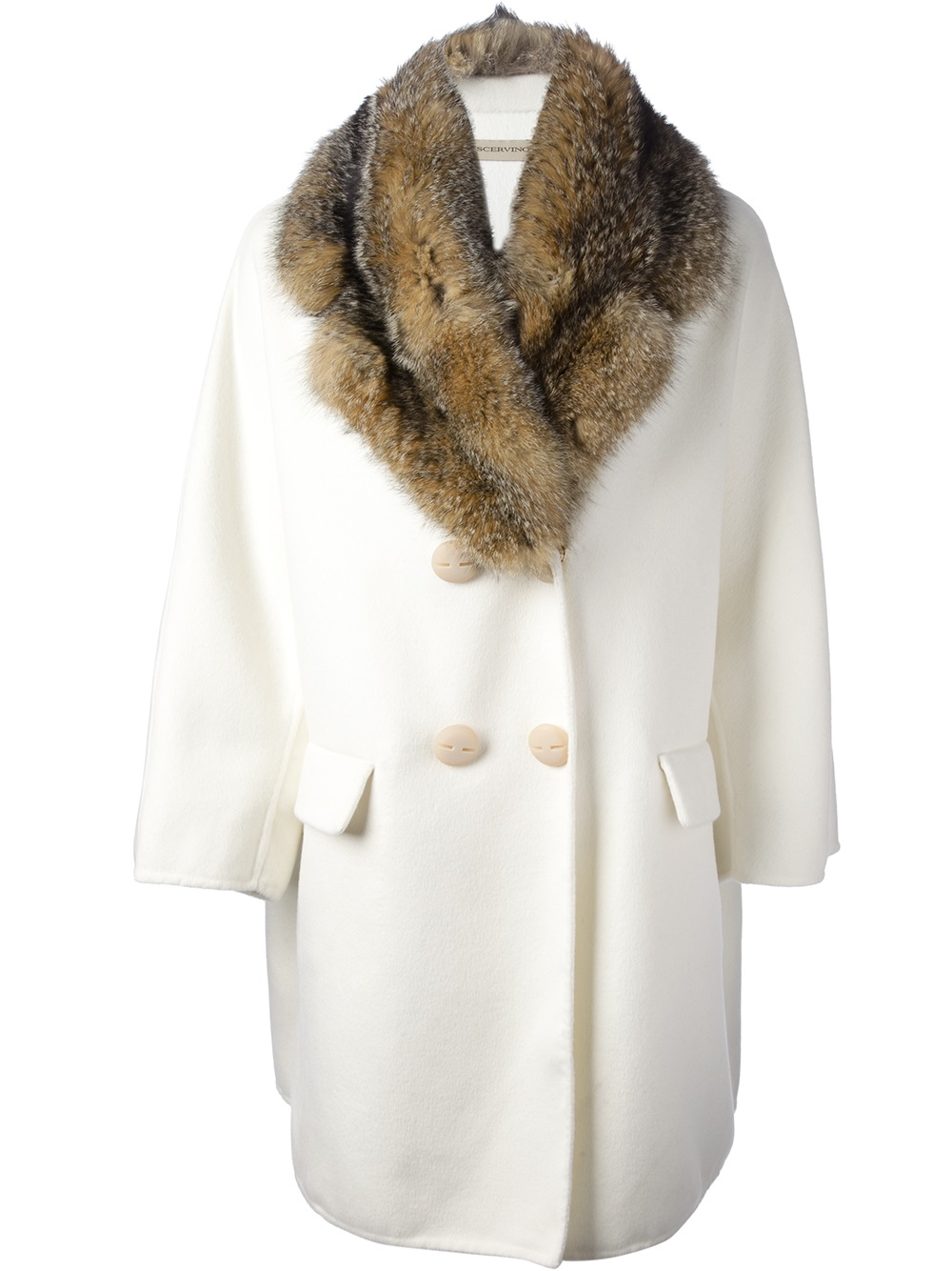 Ermanno Scervino Double Breasted Coat In White Lyst