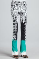 Etro Mixedprint Flared Pants Blackwhitegreen - Lyst