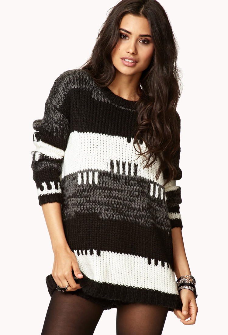 Forever 21 Striped Cable Knit Boyfriend Sweater in White | Lyst