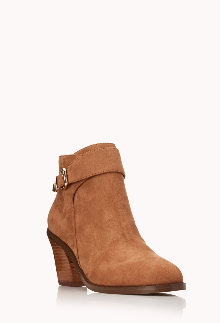 Forever 21 Modernist Faux Suede Booties In Brown (Taupe) | Lyst