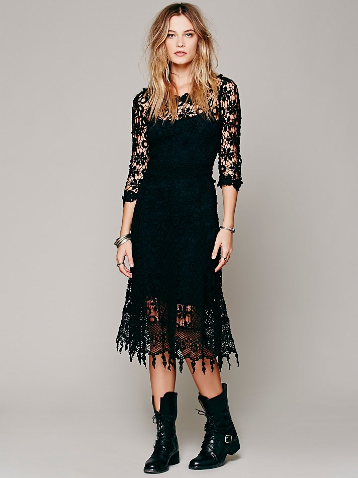 Free People Daisy Chemical Lace Dress In Black Lyst