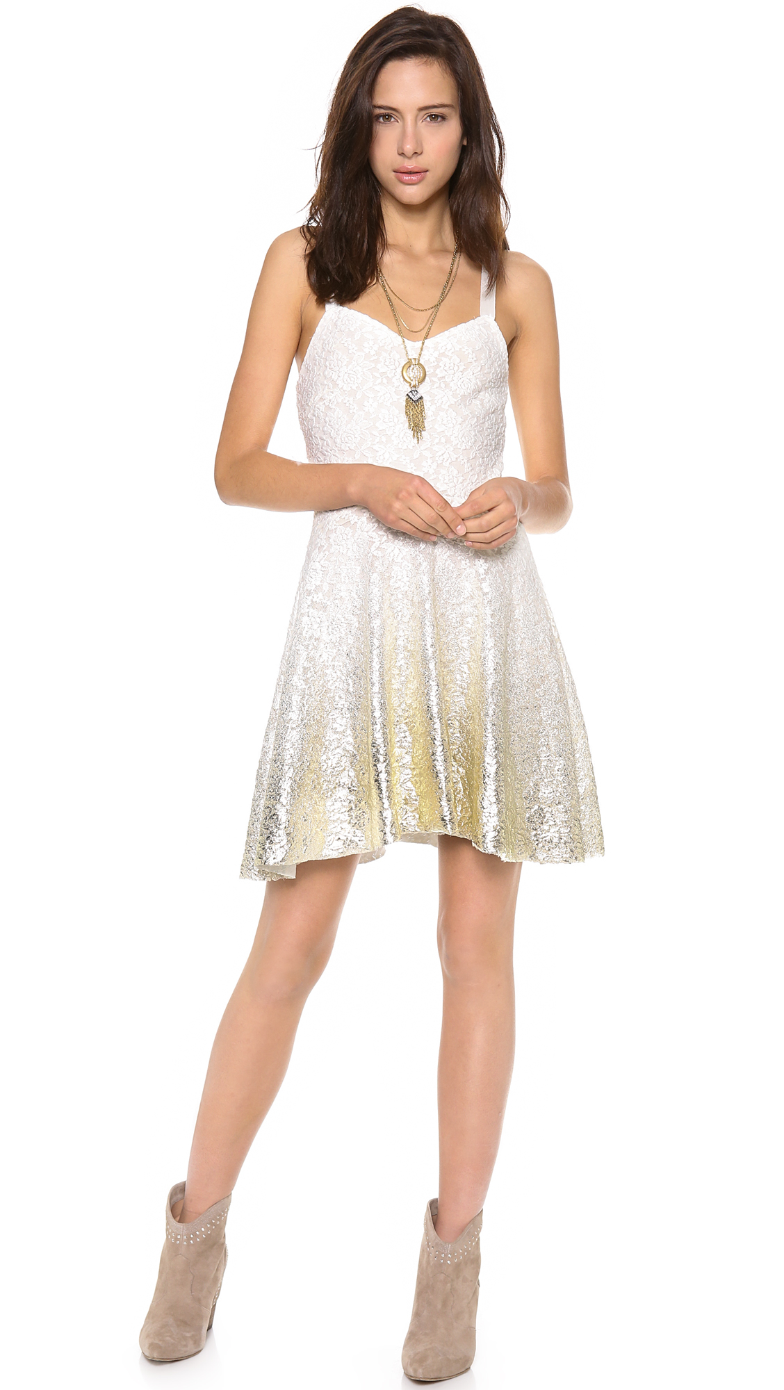 Free People Foil Ombre Lace Fit N Flare Dress In White