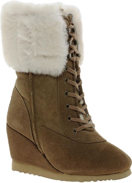 from australia wedge boots in brown caramel