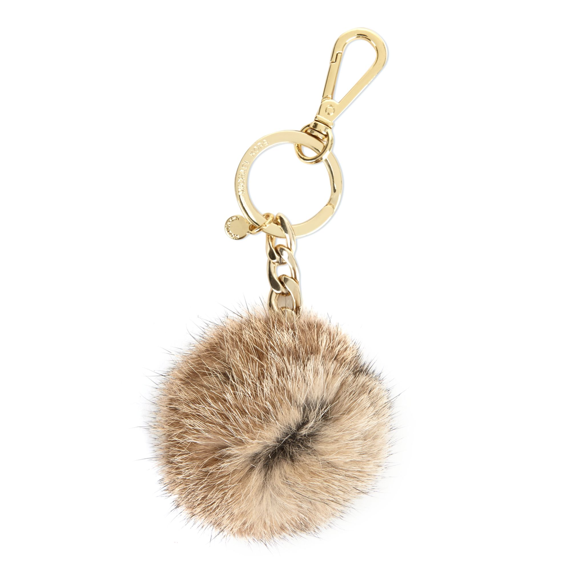 Lyst - Michael Kors Fur Pom Pom Key Ring in Natural 313b2f383