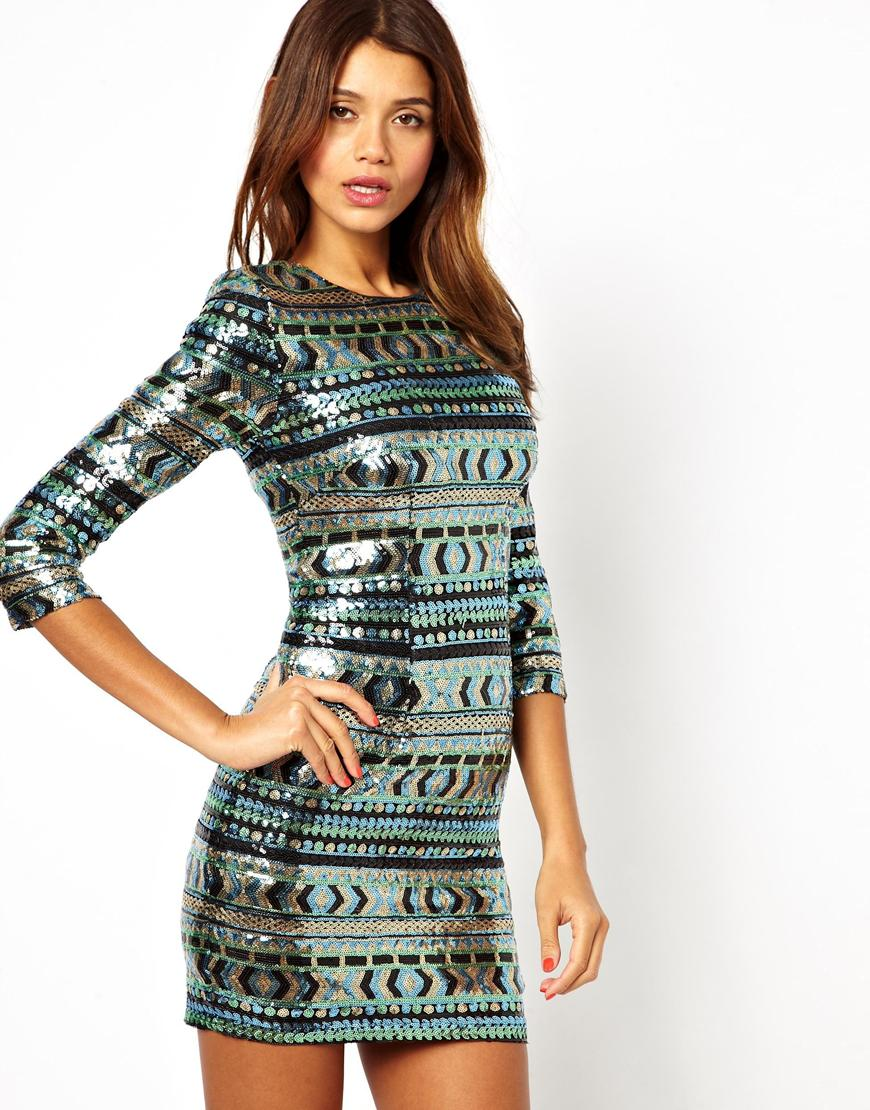 Tfnc london Bodycon Mini Dress with Geotribal Sequins | Lyst