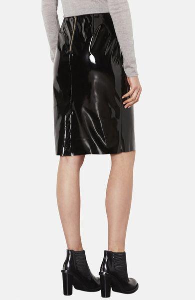 topshop vinyl pencil skirt in black lyst