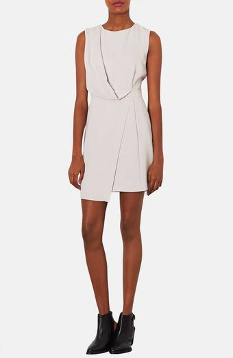 Topshop Drape Front Asymmetrical Hem Dress - Lyst