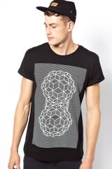 Asos T-Shirt with Geo Print and Rolled Sleeves - Lyst