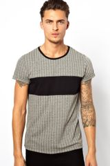 Asos Tshirt with Herringbone Jacquard and Chest Insert - Lyst