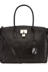 DKNY Croc Leather Shopper - Lyst