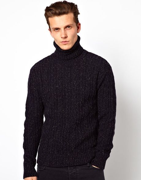 Asos Edwin Roll Neck Sweater Batallion Cable Knit in Blue for Men (Navy) Lyst