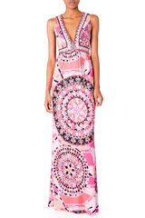 Emilio Pucci Vneck Printed Maxi Dress - Lyst