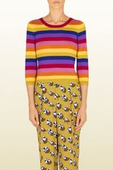 Gucci Mulitcolor Striped Cashmere Top - Lyst