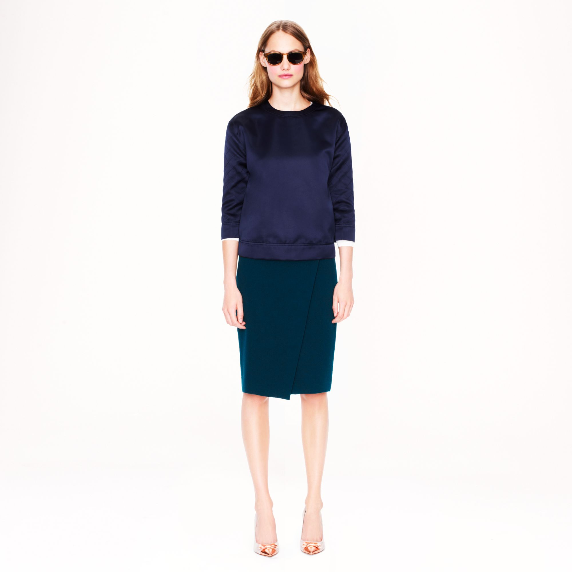 j crew wrap pencil skirt in blue lyst