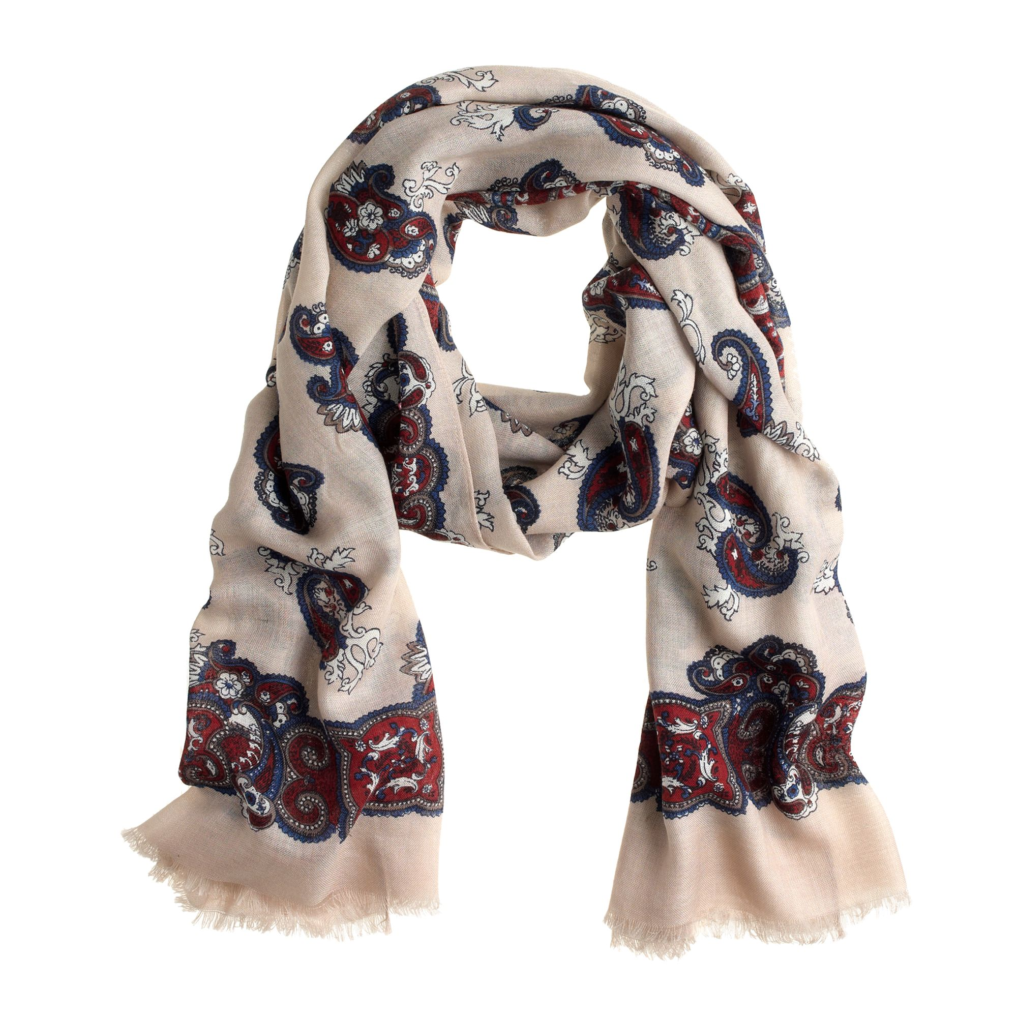 printed airy wool scarf in brown burgundy navy lyst. Black Bedroom Furniture Sets. Home Design Ideas