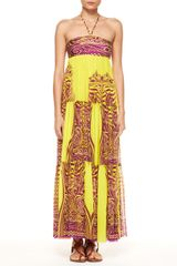 Jean Paul Gaultier Tiered Tattoo Halter Maxi Dress - Lyst