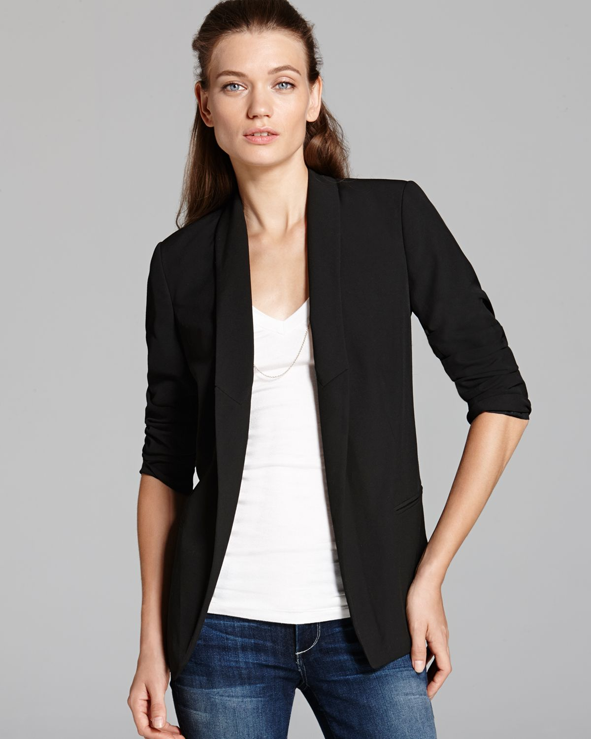 michael michael kors low peak lapel blazer in black lyst. Black Bedroom Furniture Sets. Home Design Ideas