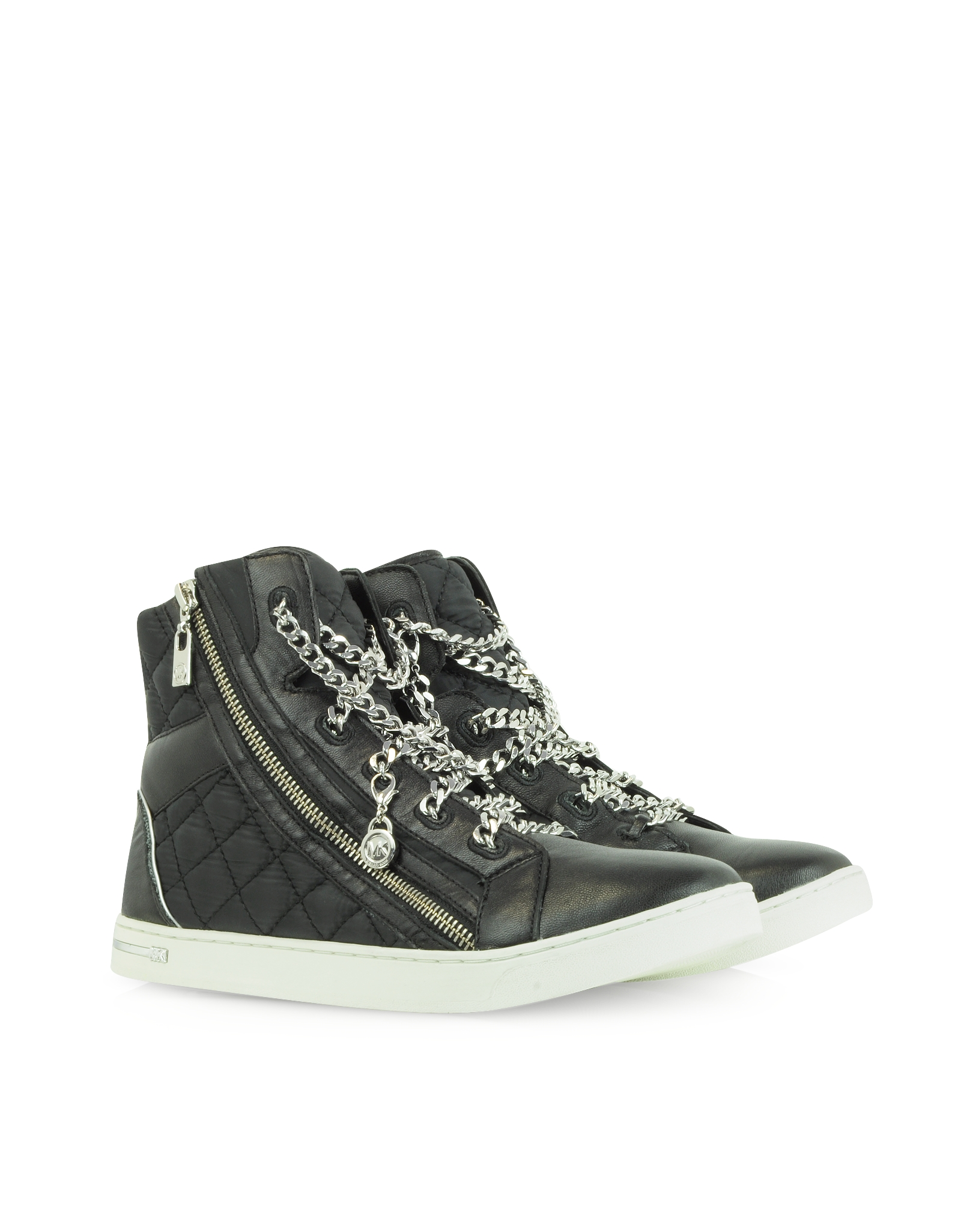 michael kors urban chain high top quilted nylon sneaker in black lyst. Black Bedroom Furniture Sets. Home Design Ideas