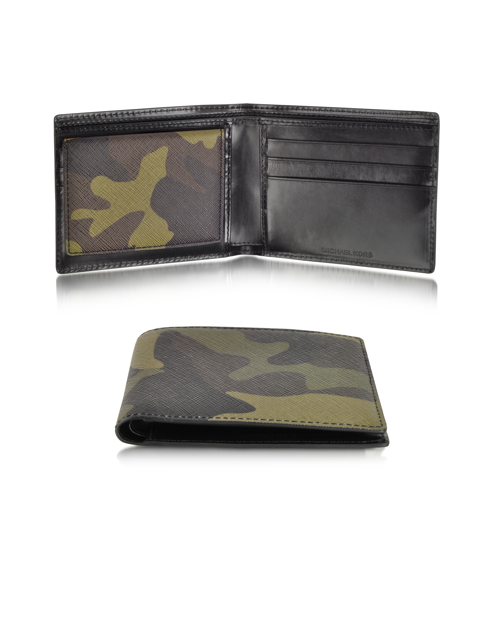 1ce1a64516dd ... coupon for michael kors leather bifold wallet in green for men lyst  5473c d17b1