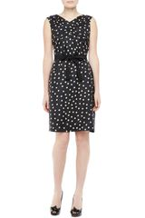 Paule Ka Sleeveless Silk Polka Dot Dress Black - Lyst