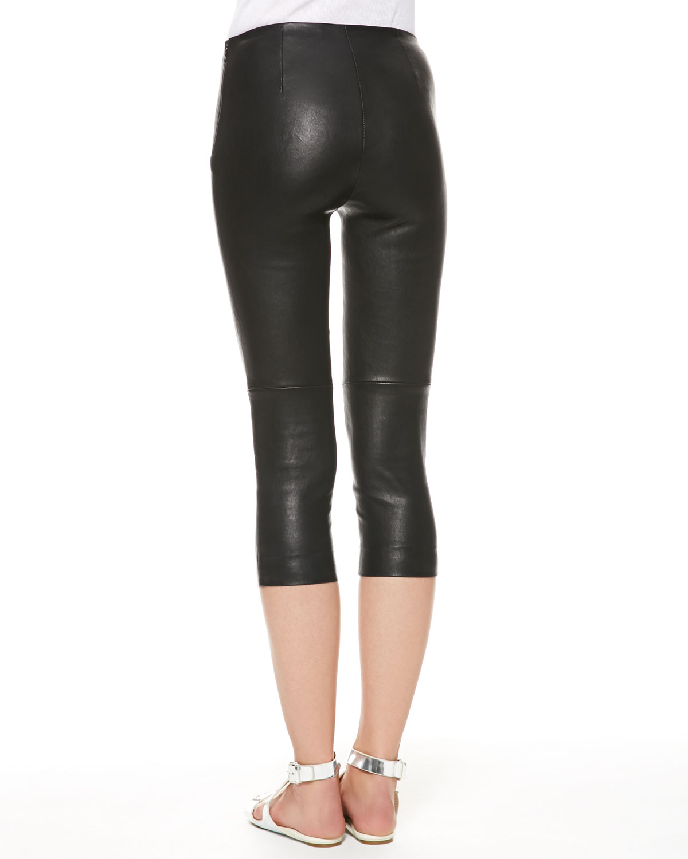 612153486b54d0 Ralph Lauren Denver Stretch Leather Capri Pants in Black - Lyst