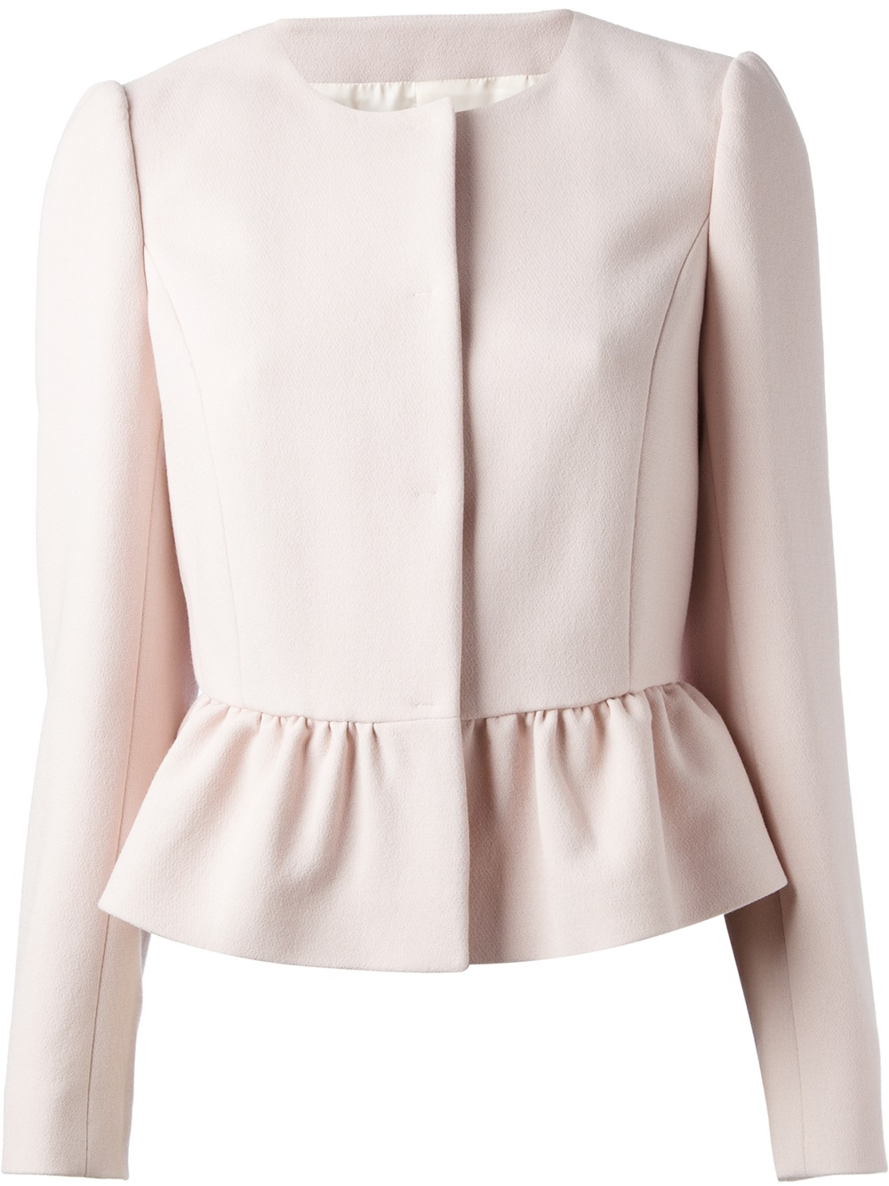 Red Valentino Collarless Peplum Jacket In Pink Pink