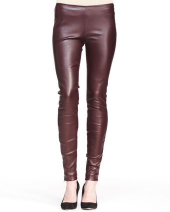The Row Stretch Leather Skinny Pants Mahogany - Lyst