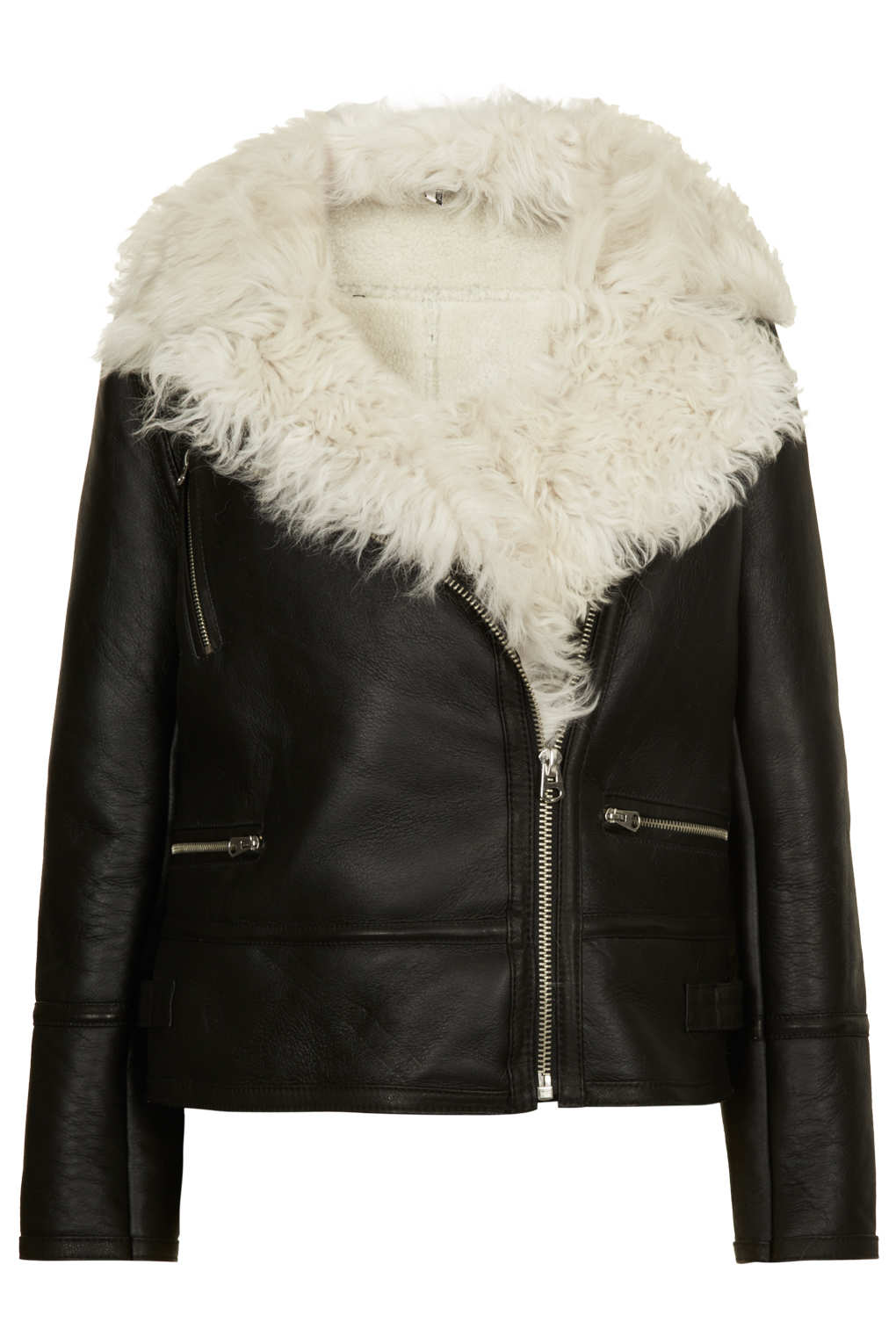 Topshop Curly Sheepskin Biker Jacket in Black | Lyst