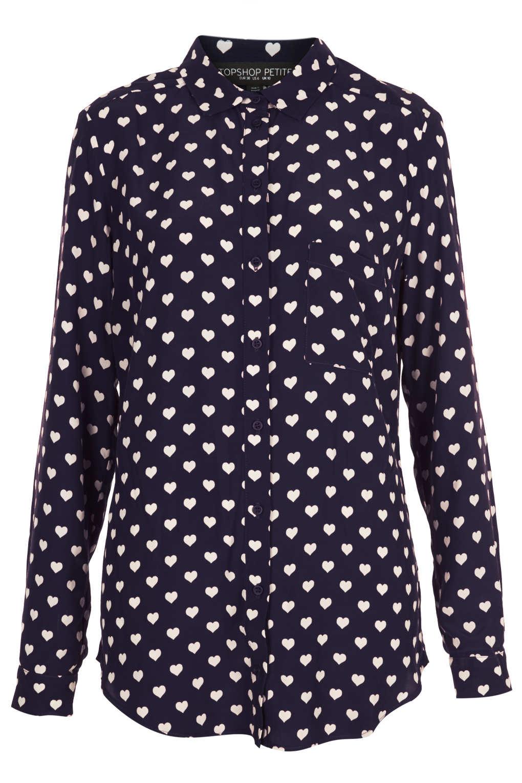 f752dd8f28ad22 Lyst - TOPSHOP Petite Heart Print Shirt in Blue