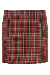 Topshop Red Check Pelmet Skirt - Lyst