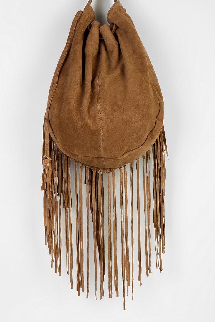 ecote suede fringe shoulder bag in brown lyst