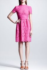 Valentino Heavy Lace Bambolina Dress Fuchsia - Lyst