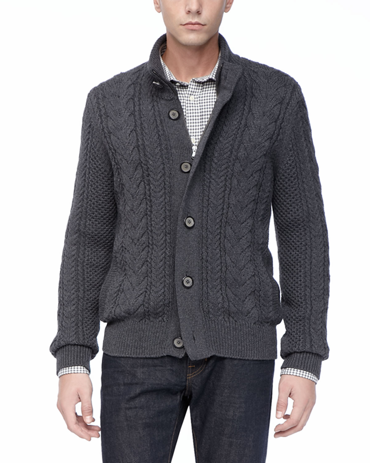 Vince Dark Gray Wool Cable Cardigan in Gray for Men | Lyst
